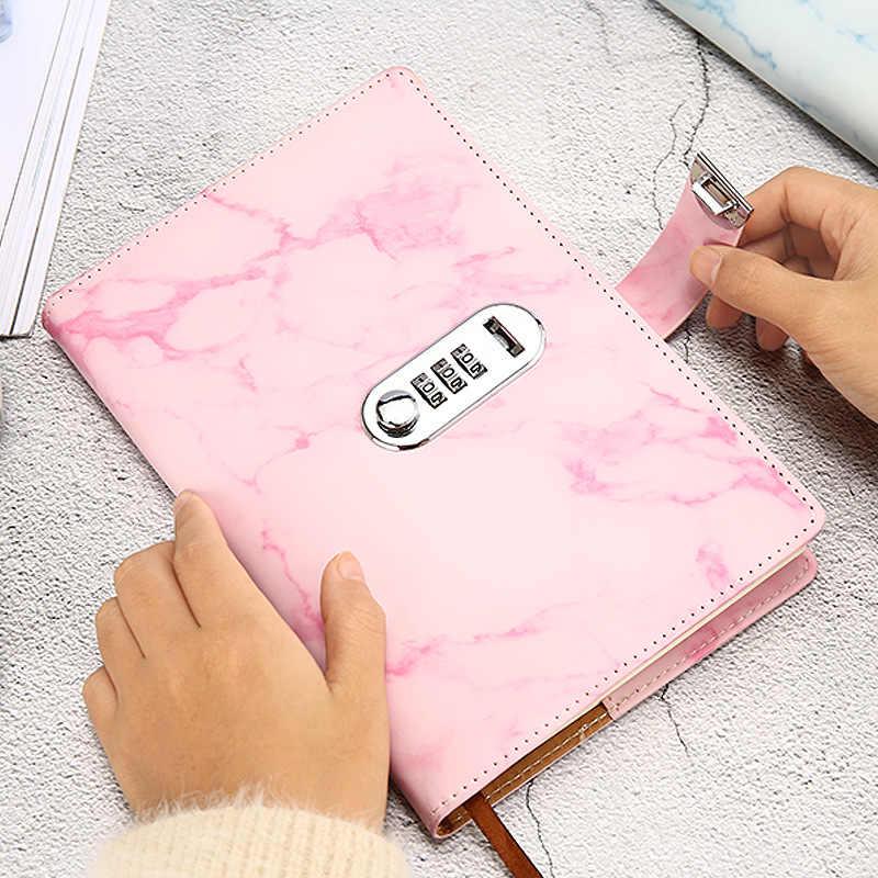A5 мраморная текстура, записная книжка с паролем, кожаная записная книжка, блокнот, программа 2020, дневник недели, месяц, школа планирования, канцелярские принадлежности, подарок