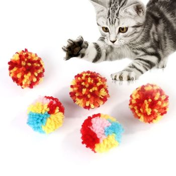 10Pcs Colorful Cat Ball Toys Kitten Scratching Bite Teaser Interactive Plush Bouncy Chew Paw Grinding Toy Gift Supplies
