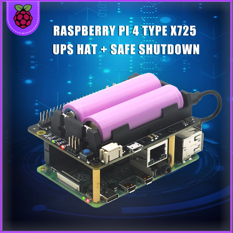 Raspberry Pi 4 Model B X725 UPS HAT 18650 Power Management Expansion Board+Safe Shutdown+Wake On Lan For Raspberry Pi 4B/3B+/3B