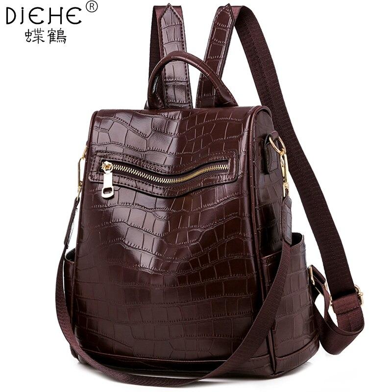 Anti-theft Fashion Women Backpack Stone Print Leather Casual School Backpacks For Girls Travel Shopping Daypack Mochila Feminina
