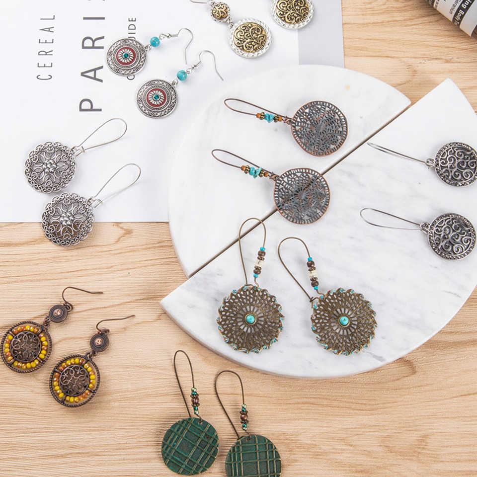 2019 nowa czeska Okrągła wersja kolczyków modelki kamienie akrylowy wisiorek kolczyki kobiety etniczne duże geometryczne biżuteria hurtowa