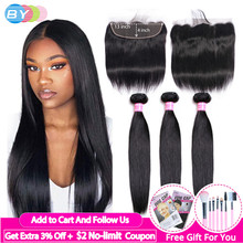 Straight Hair 3 Bundles With Frontal Human Hair Bundles With 13x4 Frontal Closure BY Brazilian Hair Weave Bundles With Closure