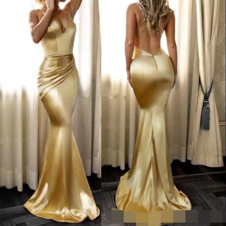 Gold Mermaid Prom Dresses Simple Soft Sexy V Neck Backless Draped Spaghetti Strap Long Party Dress Evening Dress Custom Vintage