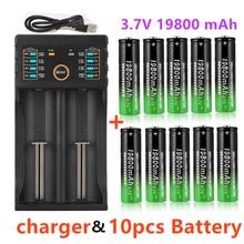 100% nowe baterie litowe 18650 latarka 18650 akumulator 3.7V 19800 Mah do latarki + ładowarka USB