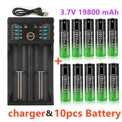 100% New 18650 Lithium Batteries Flashlight 18650 Rechargeable-Battery 3.7V 19800 Mah for Flashlight + USB charger