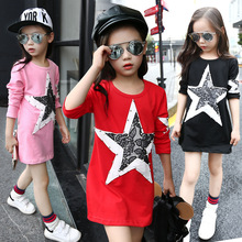T-shirt for Toddler Girls 2019 Autumn Fashion Children Red Black Long Sleeve Lace Star Cotton T Shirts Dress Kids Tops Clothes недорого