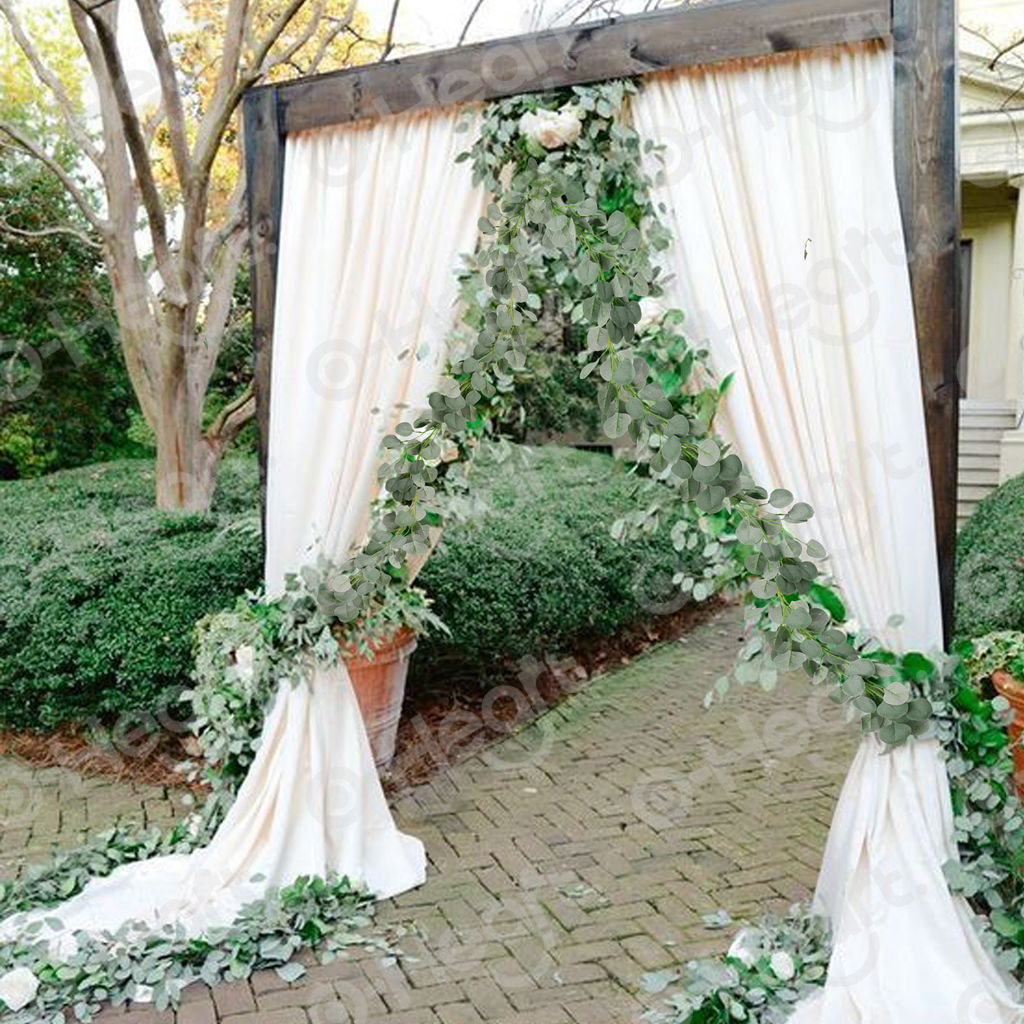OHEART 2m Faux Eucalyptus Garlands Artificial Plant Leaves Vines Greenery Garland Christmas Wedding Decoration Backdrop Home