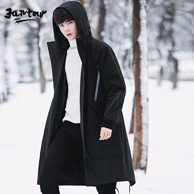 2019 New winter men's Hooded White duck down Down jacket Men's trench coat jackets Down Coats Long style zipper big size M-4XL
