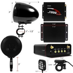 Image 4 - Aileap 1000 Вт мотоцикл аудио 4CH усилитель лодка Колонки Системы, поддержка Bluetooth, USB, AUX, FM радио, SD карты, проводное управление