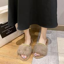 Женские пушистые шлепанцы повседневные с круглым носком на плоской