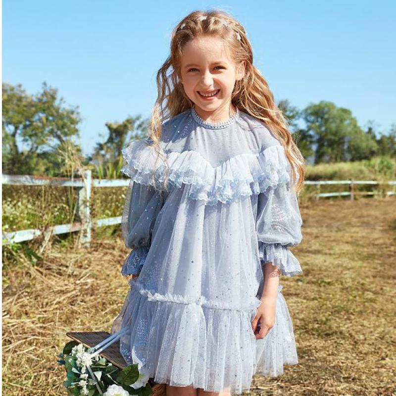 Flower Girl Lace Dress Kid Baby Girl Pageant Party Wedding Dreses Girl Dress Dot Pleated Dress For Kids Girl Lace Ruffle Dress