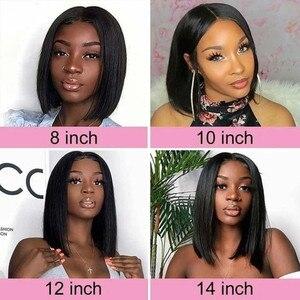 Image 2 - Straight Bob Human Hair Wigs 4x4 Lace Closure Wigs Brazilian Straight Lace Front Human Hair Wigs Remy Short Bob Wig bling hair