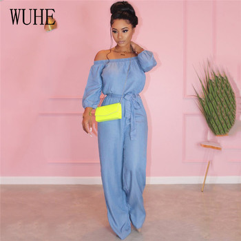 WUHE Women Jumpsuits Off Shoulder Long Sleeves Rompers Sexy Slash Neck Party Playsuits High Waist Plus Size Bodysuits Overalls