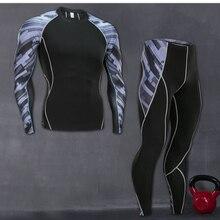 Новинка, мужские спортивные компрессионные футболки для бега, штаны, костюмы для бега, спортивный костюм для мужчин, для спортзала, фитнеса, ММА, комплект спортивной одежды, футболка, леггинсы