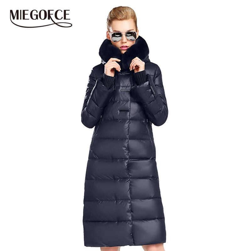 MIEGOFCE 2019 Women's Coat Jacket Medium Length Women Parka With a Rabbit Fur Winter Thick Coat Women New Winter Collection Hot