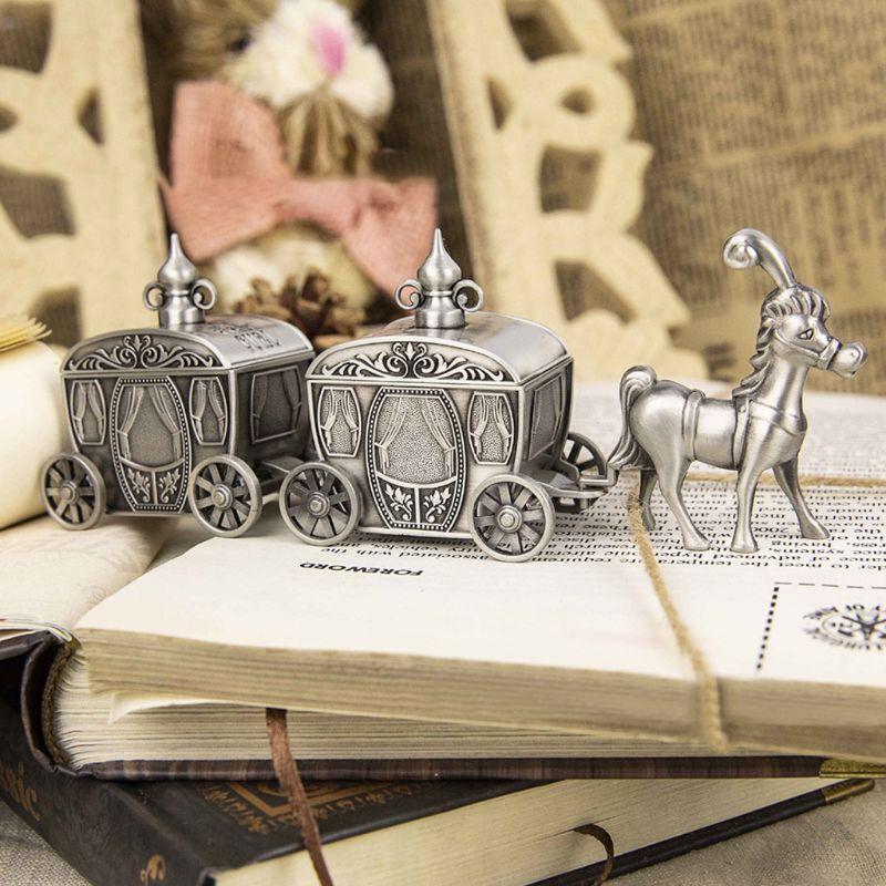 Zinc Alloy Tooth Storage Box Retro Carriage Baby Milk Teeth Memory Keeper Case Organizer Kids Keepsake Gift Home Decor