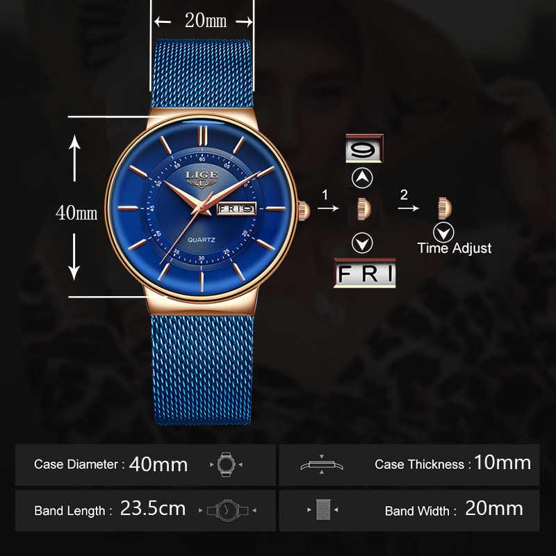 LIGE นาฬิกาผู้หญิงแบรนด์หรู Ultra-thin ปฏิทินควอตซ์นาฬิกาผู้หญิงตาข่ายสแตนเลสกันน้ำ reloj muje + กล่อง