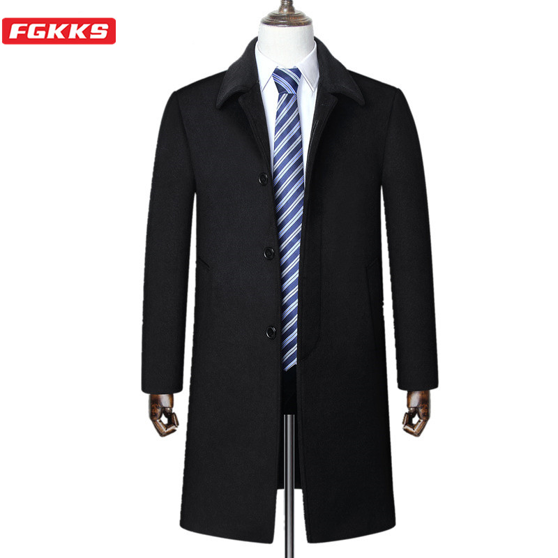 FGKKS Winter Men Wool Blend Coats Fashion Brand Men's Business Casual Wool Coat Plus Velvet Thick Wool Blends Overcoat Male