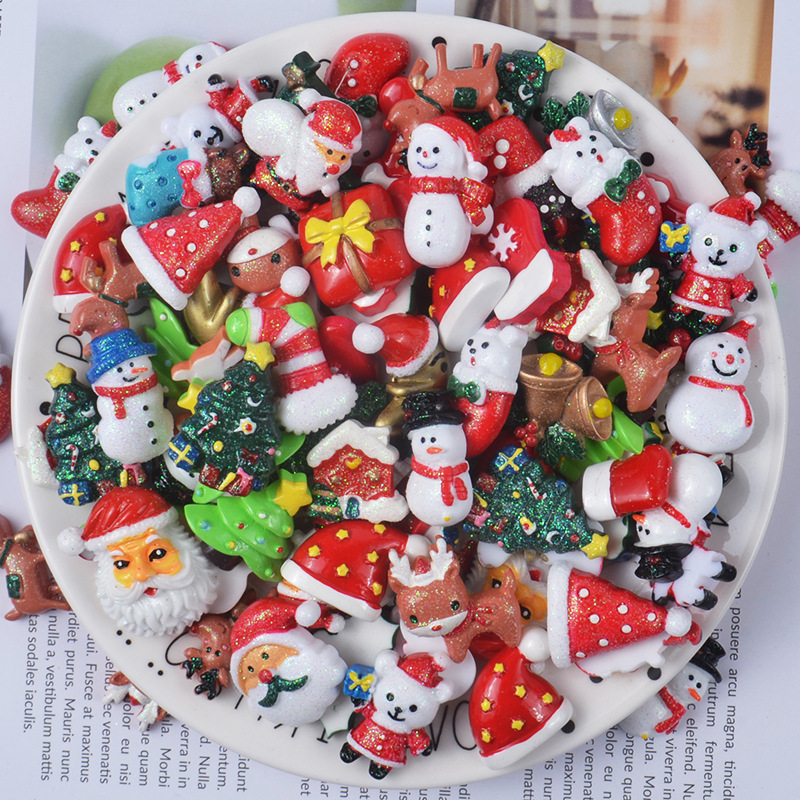 Resin Christmas Charms For Slime DIY Polymer Filler Addition Slime Accessories Toys Lizun Powder Modeling Clay Kit For Children