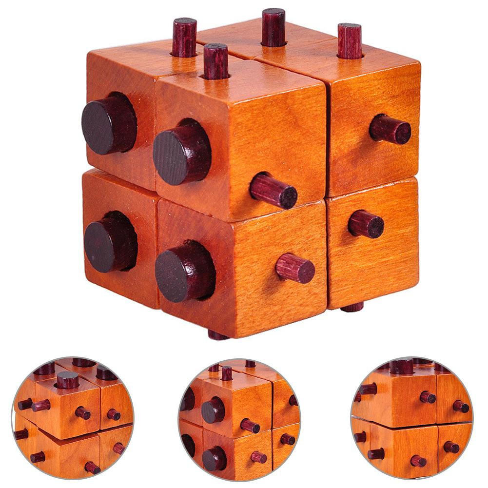 Wooden Cube Kong Luban Lock Adults Kids Brain Teaser Puzzle Educational Toy