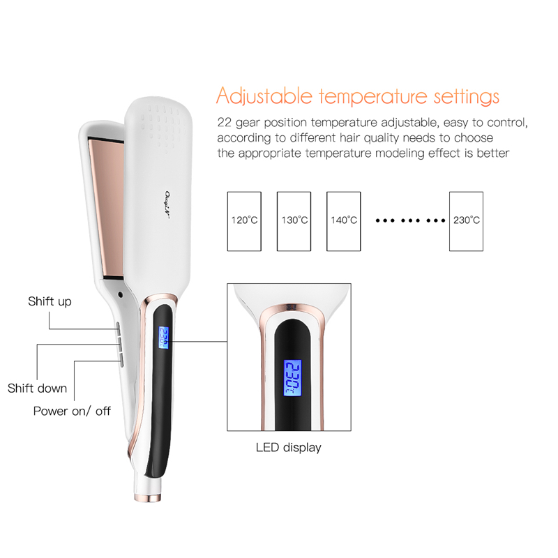 Image 3 - Professional Hair Straightener Flat Irons Ceramic Wide Plate LED Disply Hait Straightening Curling Temperature Adjustment Tools-in Straightening Irons from Home Appliances