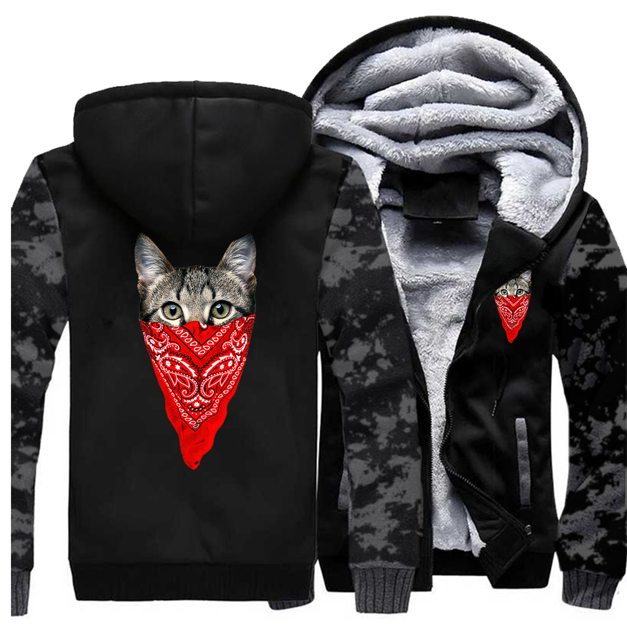 2019 Winter Fleece Warm Casual Streetwear Mens Thicken Jacket Animal Cat Thick Camouflage Sweatshirt Lovely Cat Print Men Hoodie