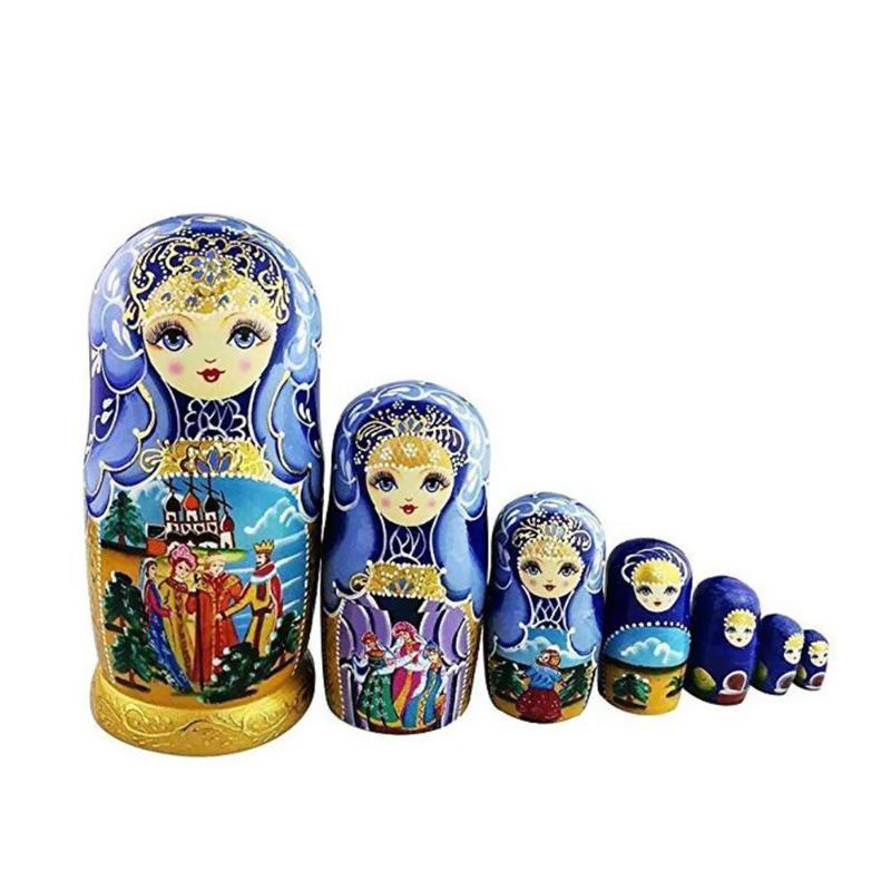 7pcs Russian Matryoshka Nesting Doll Girls Basswood Hand Painted Decor Gift