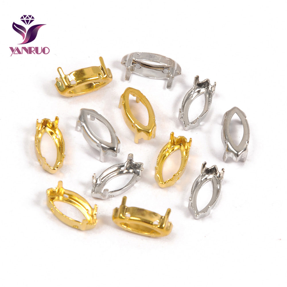 YANRUO Navette cheval œil griffe réglage cuivre pierres Base argent or couture avec cristal strass vêtement bricolage métal