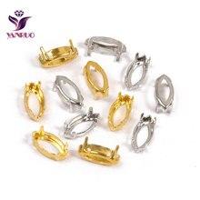YANRUO Navette Horse Eye Claw Setting Copper Stones Base Silver Gold Sewing With Crystal Rhinstones Garment DIY Metal