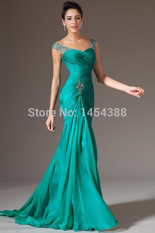 Charming Sheath Cap Sleeve Floor Length Beads 2019 Green Pageant Gown Formal Prom Party Long Chiffon Evening Dress Custom Make