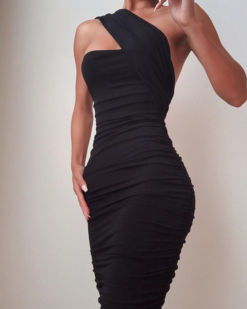 Bodycon Dress Women Ladies Fashion One Shoulder Sleeveless Solid Color Party Sexy Slim Fit Plus Size Female Tight Dress S-5XL 1