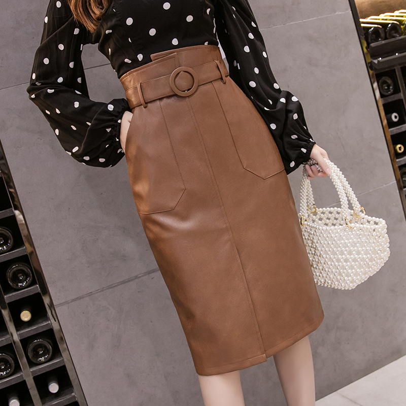 2019 Autumn And Winter New Style High-waisted Slimming Sheath Slit PU Leather One-step Skirt Skirt Belt Included