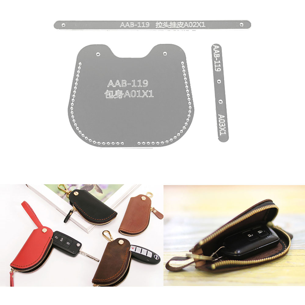Lychee Life Car Key Sewing Pattern Acrylic Leather Template DIY Handmade Leathercrafts Supplies