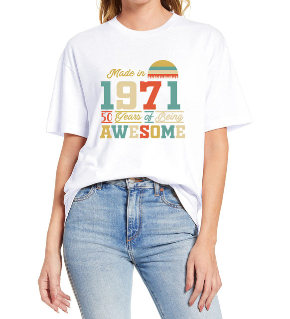 1971 tshirts 50 Years of Being Awesome 50th Birthday Gifts for Women And Mens Funny Unisex Gift T Shirt  Cotton Tee XS-3XL 2