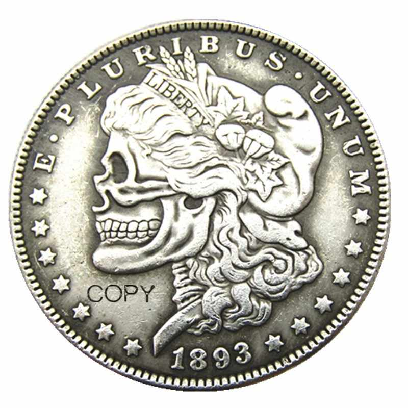 Ons Hobo 1893cc Morgan Dollar Skull Zombie Skeleton Verzilverd Kopie Munten