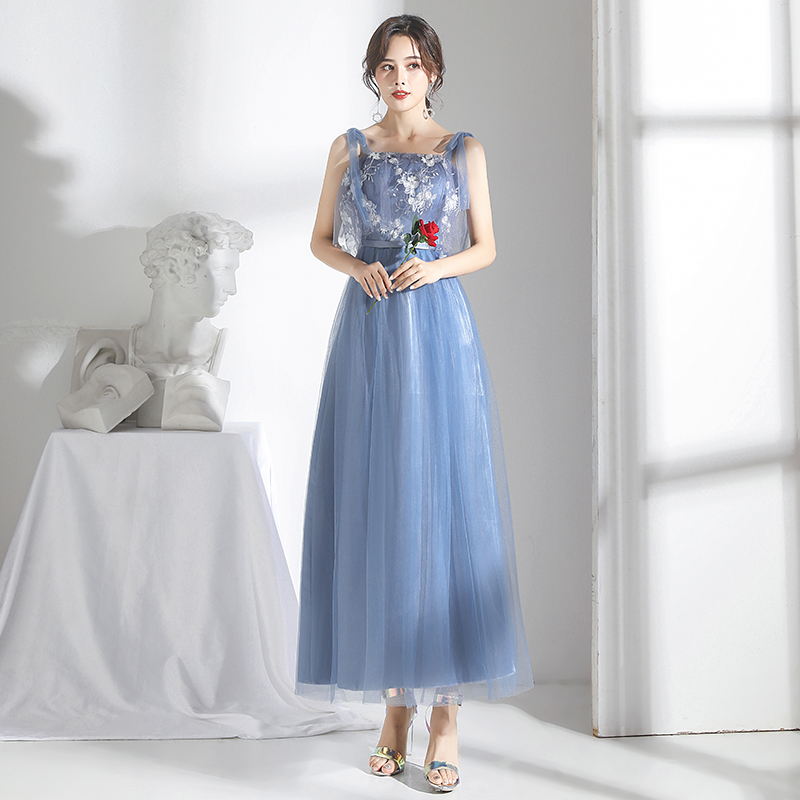 Tulle Long Dress For Wedding Party For Woman A-Line Gray Blue Bridesmaid Dress Vestidos Mujer Special Occasion Dresses Sexy Prom