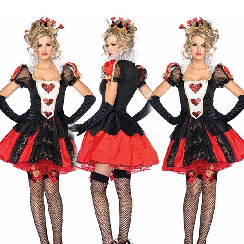 Halloween cosplay traje alice no país das maravilhas a rainha dos corações traje masquerade rainha vermelha traje de halloween adulto