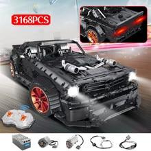 MOC RC Ford Mustang Hoonicorn RTR V2 Model Bricks Legoning Technic Racing Car Led Light 3168pcs Building Block Toys for Kids
