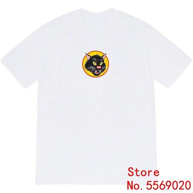 Sureme 20ss chat noir T-Shirt hommes femmes Couples à manches courtes t-shirts Bogo chat imprimé coton T-Shirt hommes