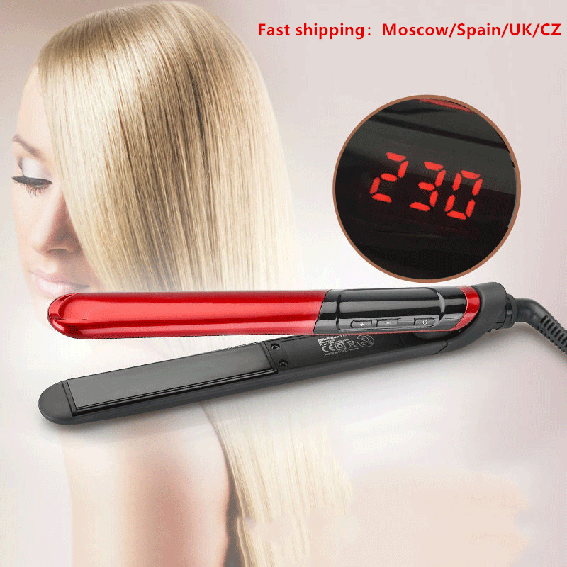 LCD Display 2-in-1 Ceramic Coating Hair Straightener Comb Hair Curler Beauty Care Iron Healthy Beauty