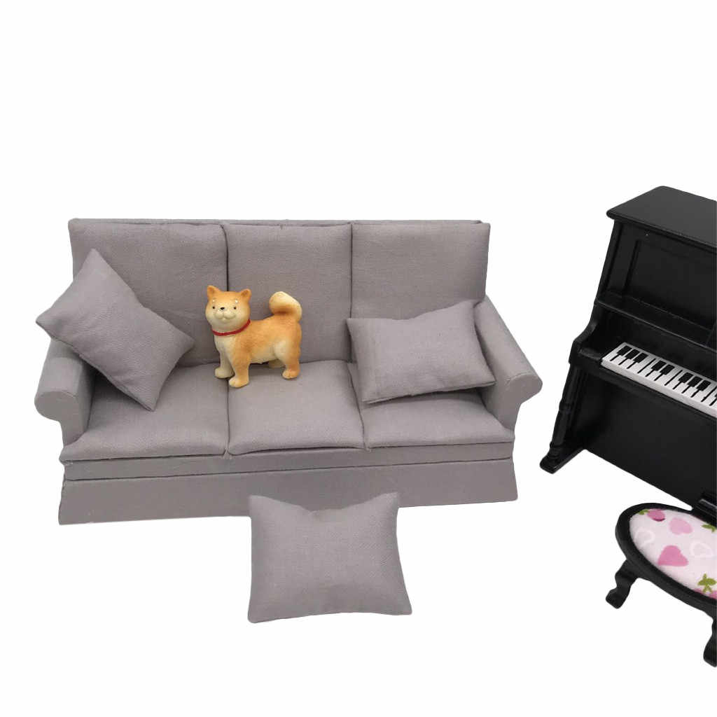 NEW Miniature Dollhouse sofa wooden mini toy doll house furniture soft settee with pillow 1:12 scale Miniature Furniture