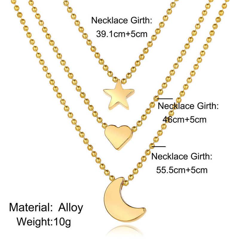 Ailodo trois couches lune étoile coeur pendentif collier pour les femmes couleur or déclaration collier mode bijoux filles cadeau 19NOV72