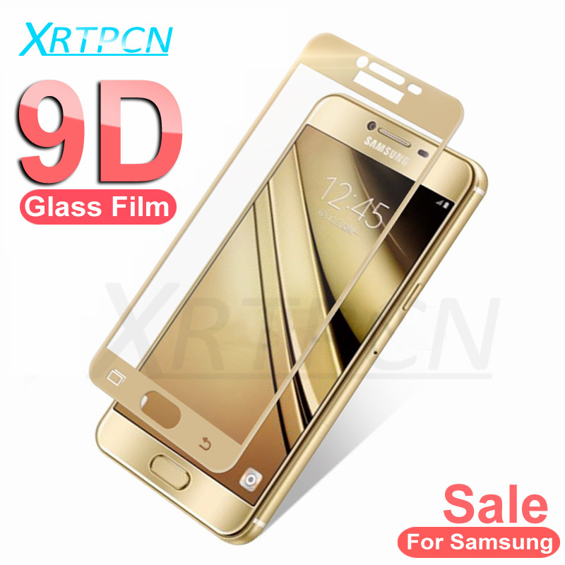 9D Full Cover Tempered Glass For Samsung Galaxy S7 A3 A5 A7 2017 J3 J5 J7 2016 2017 Screen Protector Safety Protection Film Case