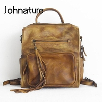 Johnature Cow Leather Backpack 2020 New Vintage Hand Painted Women Mini Bag Pack Leisure Tassel Solid Color Cowhide Lady Bags