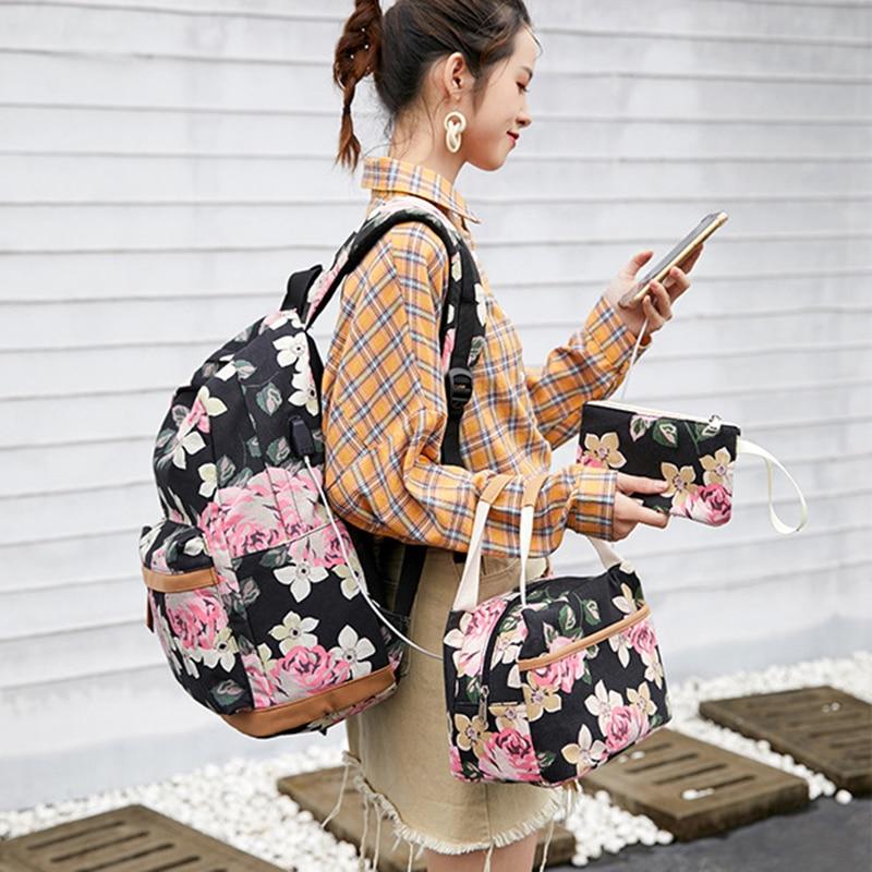 Sac d'école d'étudiant de haute qualité impression sur toile sac à bandoulière femme sac à dos décontracté en plein air avec sac Interlaye d'ordinateur