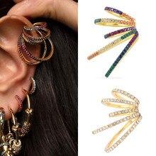 1 sztuk osobowości Rainbow CZ Ear Cuff bez przebicie dla kobiet Earclip kolczyki na chrząstkę nausznice biżuteria akcesoria