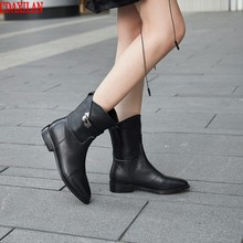 CDAXIALN new arrived womens ankle boots gneuine cow leather low-heel motorcycle autumn winter short