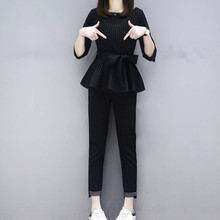 Fashion and Leisure New Large Size Womens Suit Two Sets of Loose Stripes