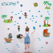 Pirates Wall Stickers Cartoon Fish Shark Island Compass Ship Tree Decals Kids Room Boys Bedroom Waterproof Vinyl Murals
