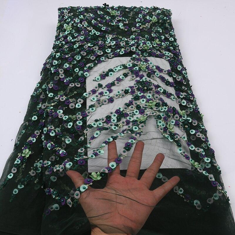 Ev ve Bahçe'ten Dantel'de Yüksek kaliteli son yeşil el yapımı boncuk dantel kumaş 2019 en çok satan nijeryalı dantel boncuklu kumaş için düğün elbisesi APW2634B'da  Grup 2